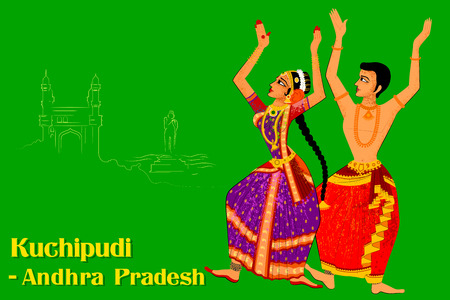 Vector design of Couple performing Kuchipudi classical dance of Andhra Pradesh, India Ilustração