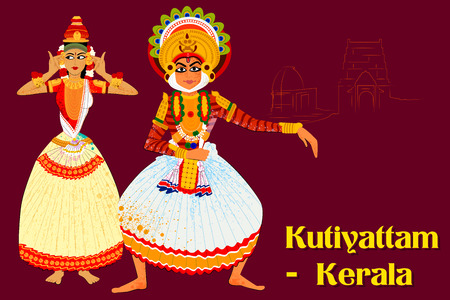 Vector design of Couple performing Kutiyattam classical dance of Kerala, India Illustration
