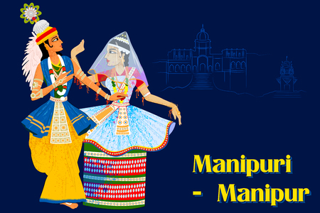 theatrical dance: Vector design of Couple performing Manipuram classical dance of Manipur, India Illustration