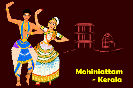 india dance: Vector design of Couple performing Mohiniattam classical dance of Kerala, India