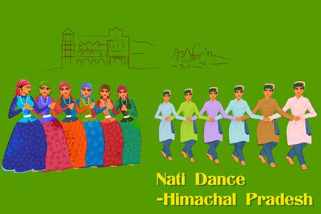 folk dance: Vector design of Couple performing Kullu Nati folk dance of Himachal Pradesh, India Illustration