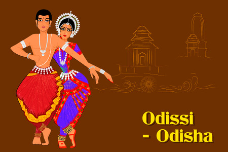 india dance: Vector design of Couple performing Odissi classical dance of Odisha, India