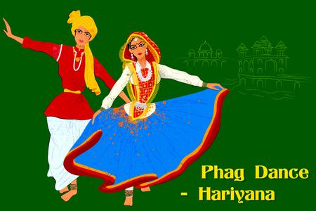 haryana: Vector design of Couple performing Phag folk dance of Haryana, India