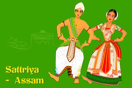 Vector design of Couple performing Sattriya classical dance of Assam, India