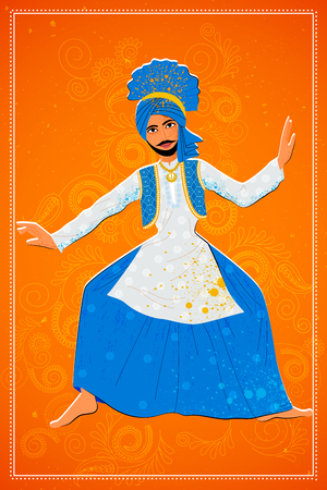 Vector design of man performing Bhangra folk dance of Punjab, India Illustration