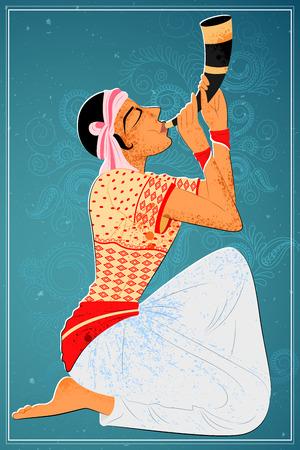 folk dance: Vector design of man performing Bihu folk dance of Assam, India Illustration