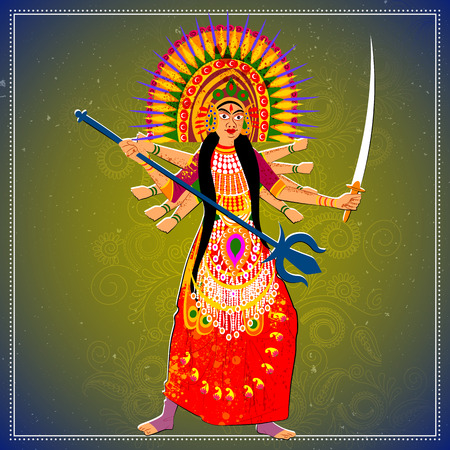 folk dance: Vector design of man performing Chhau folk dance of Jharkhand, India