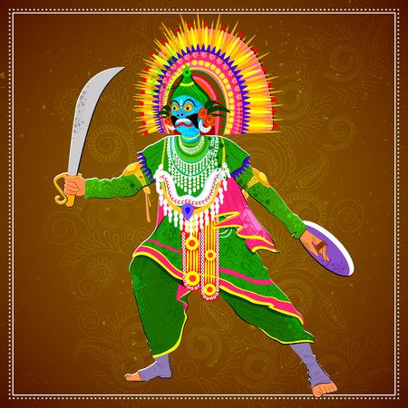 west bengal: Vector design of man performing Chhau folk dance of Jharkhand, India