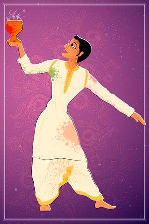 bengal: Vector design of man performing Dhunuchi dance of Bengal, India