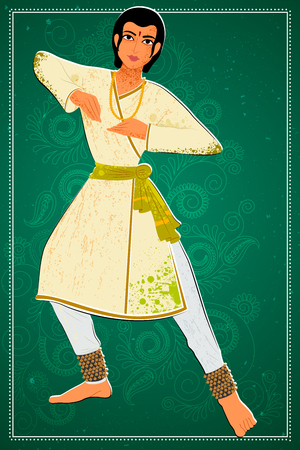 Vector design of man performing Kathak classical dance of Northern India Illustration