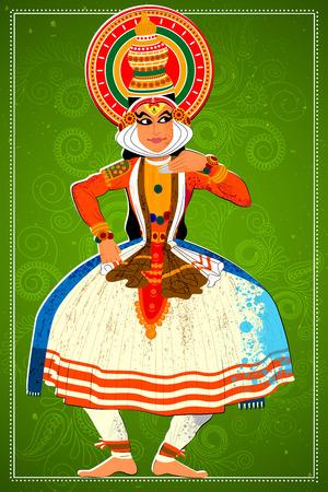 kerala: Vector design of man performing Kathakali classical dance of Kerala, India