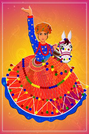 Diseño del vector del hombre que realiza la danza Kachhi ghodi popular de Rajasthan, India Ilustración de vector