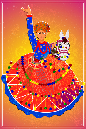 folk dance: Vector design of man performing Kachhi ghodi folk dance of Rajasthan, India