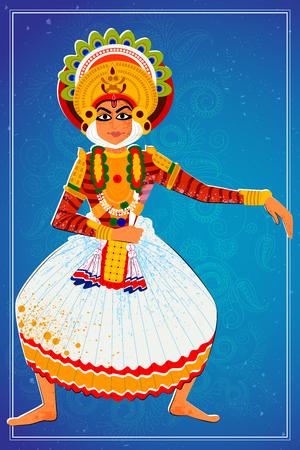 malayalam: Vector design of man performing Kutiyattam classical dance of Kerala, India Illustration