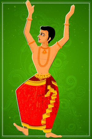 theatrical dance: Vector design of man performing Kuchipudi classical dance of Andhra Pradesh, India Illustration
