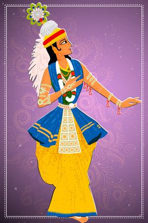 enact: Vector design of man performing Manipuram classical dance of Manipur, India