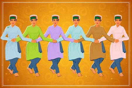 folk dance: Vector design of man performing Kullu Nati folk dance of Himachal Pradesh, India
