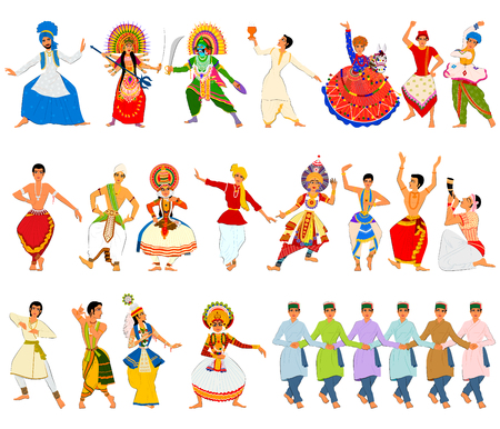 tribal dance: Vector design of men performing classical and folk dance of India
