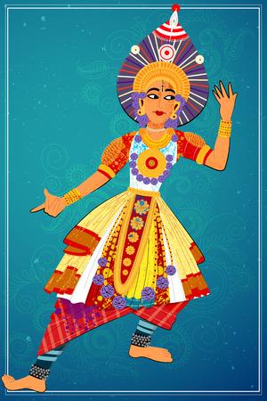 india dance: Vector design of man performing Yakshagana classical dance of Karnataka, India
