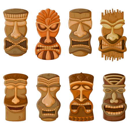 Vector design of Hawaiian Tiki tribal mask for religious or ethnic design