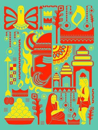 sita: vector illustration of Happy Dussehra festival background kitsch art India