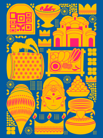 puja: vector illustration of Happy Durga Puja festival background kitsch art India Illustration