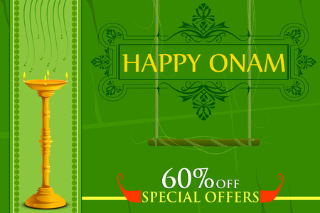 vector illustration of Happy Onam big shopping sale offer Illustration