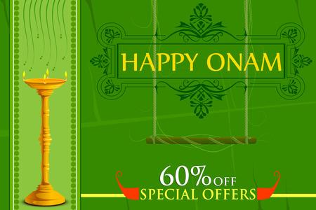 sravanmahotsav: vector illustration of Happy Onam big shopping sale offer Illustration
