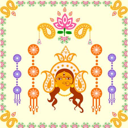 puja: Vector design of India festival Happy Durga Puja background