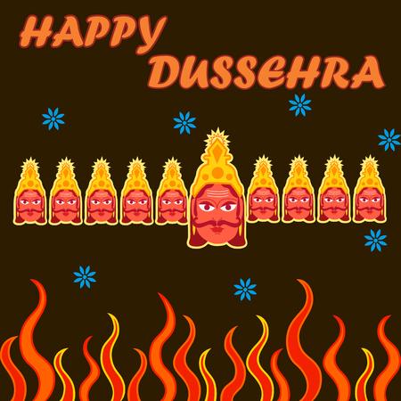 ravana: Vector design of India festival Happy Dussehra background