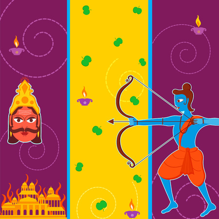 ramayan: Vector design of India festival Happy Dussehra background