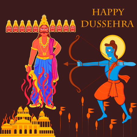Vector design of India festival Happy Dussehra background