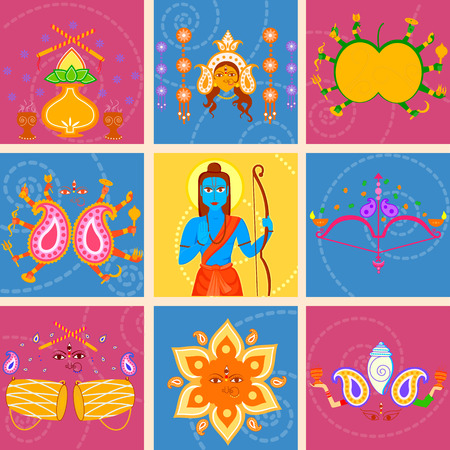 occassion: Vector design of India festival Happy Dussehra background