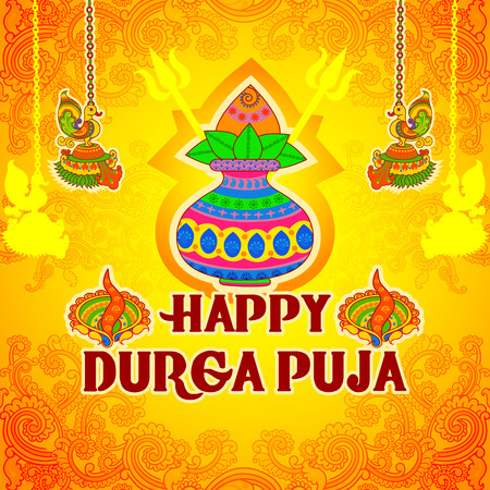 Vector design of kalash with coconut, mango leaves and diya for Happy Durga Puja in Indian art style