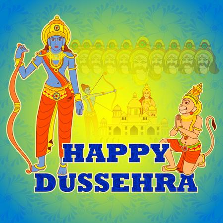 killing: Vector design of Rama killing Ravana in Happy Dussehra