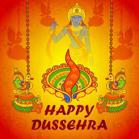 occassion: Vector design of Lord Rama in Happy Dussehra with colorful lamp Illustration