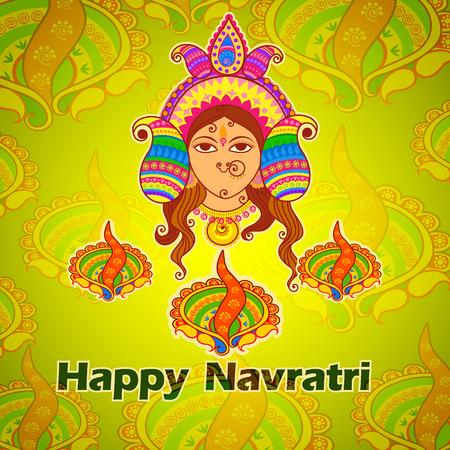 devi: Vector design of Goddess Durga for Happy Navratri in Indian art style