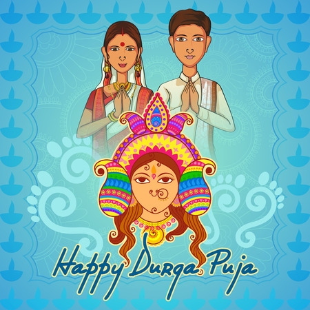 puja: Vector design of People of Bengal wishing Happy Durga Puja in Indian art style