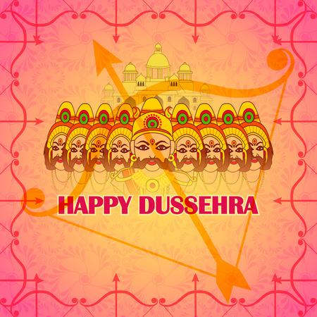 ravana: Vector design of ten head Ravana in Happy Dussehra