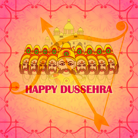 dashamukha: Vector design of ten head Ravana in Happy Dussehra