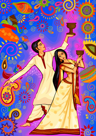 bengal: design of Couple performing Dhunuchi dance of Bengal for Durga Puja in Indian art style