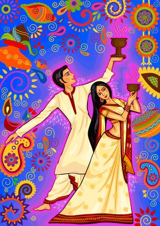 ontwerp van Echtpaar uitvoeren Dhunuchi dans van Bengalen voor Durga Puja in Indian kunststijl