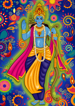 ramayan: design of Indian God Rama for Dussehra festival celebration in India