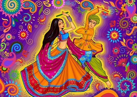 design of couple playing Garba in Dandiya Night Navratri Dussehra festival Vettoriali