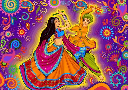 design of couple playing Garba in Dandiya Night Navratri Dussehra festival Illustration