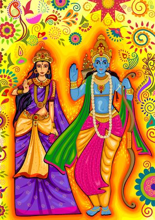 design of Indian God Rama and Sita for Dussehra festival celebration in India Illustration