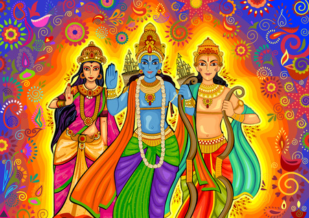 ramayan: design of Indian God Rama with Laxman and Sita for Dussehra festival celebration in India