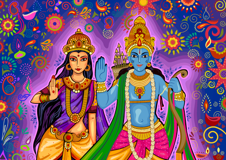 sita: design of Indian God Rama and Sita for Dussehra festival celebration in India Illustration