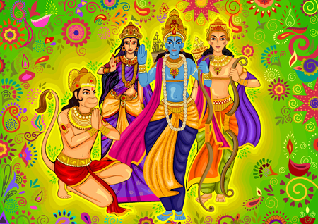 the ramayana: design of Indian God Rama with Laxman and Sita for Dussehra festival celebration in India