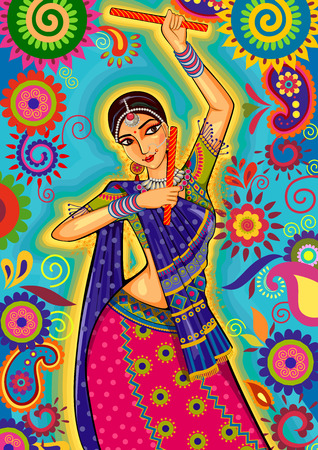 design of woman playing garba dance for Dussehra Dandiya night during Navratri